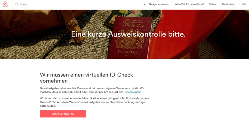 ID-Check bei Airbnb (Bild: Screenshot Website Airbnb)